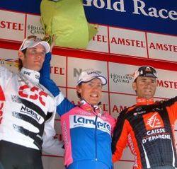 Le podium 2008 - Cunego devance F.Schleck et A. Valverde